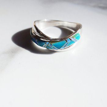 Criss Cross Turquoise Ring