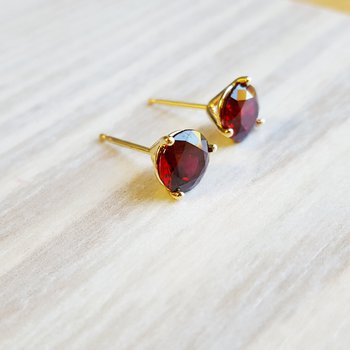 Garnet Martini Stud Earrings