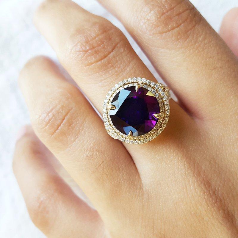 Arizona Amethyst™ Gold Jewelry Double Halo Ring