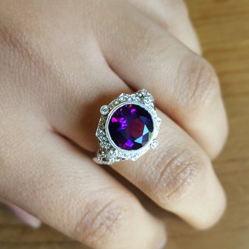 Vintage Inspired Amethyst Ring