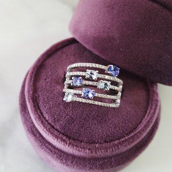 Layered Tanzanite & Aquamarine Ring