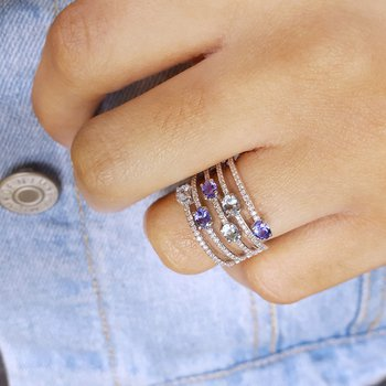 Layered Tanzanite & Aquamarine Ring