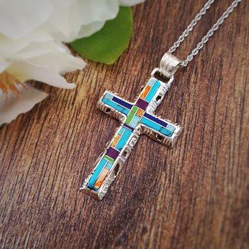 Multicolored Modern Cross Pendant