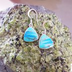 Arizona Turquoise and Inlaid Jewelry Turquoise Trillion Dangle Earrings