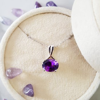 Amethyst Oval Overlap Necklace