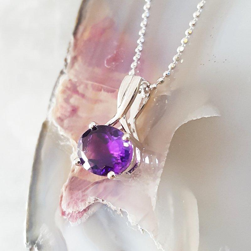 Arizona Amethyst™ Silver Jewelry Amethyst Oval Overlap Necklace