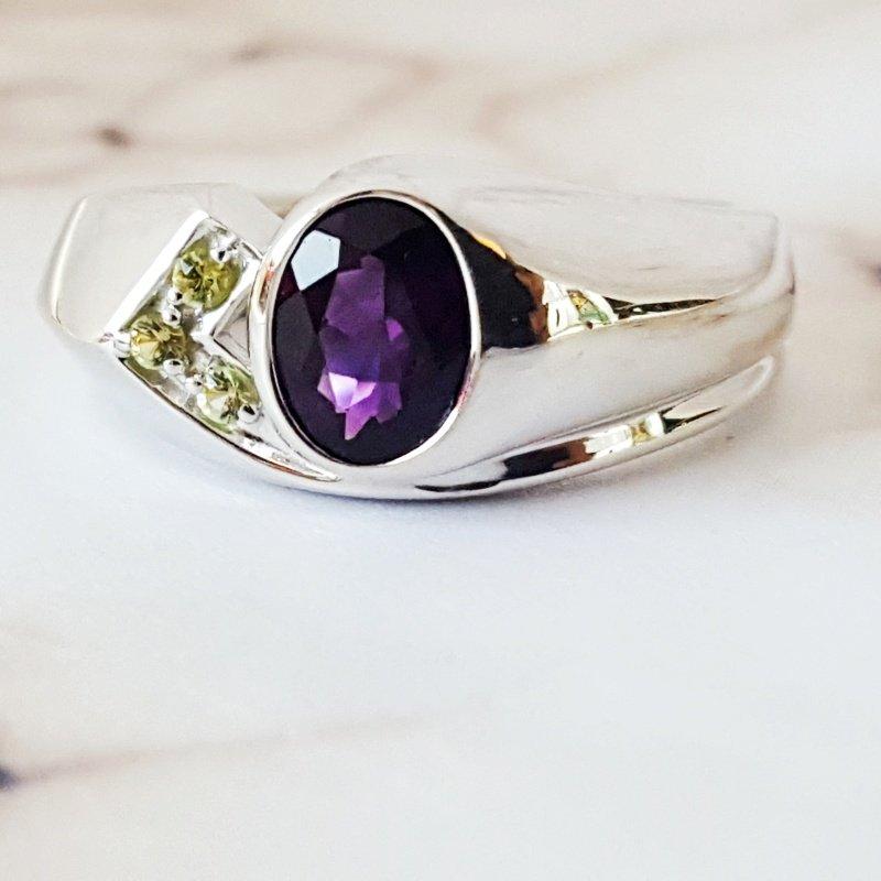Arizona Amethyst™ Silver Jewelry Men's Arizona Bezel Ring