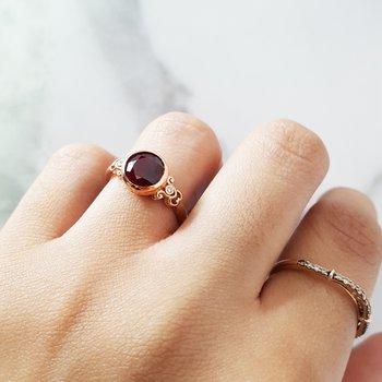 Vintage Inspired Garnet Ring