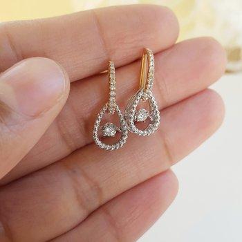 Diamond Door Knocker Drop Earrings in 14k Two-Tone Gold (1/4ctw)