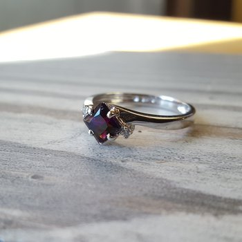 Princess Cut Amethyst Ring
