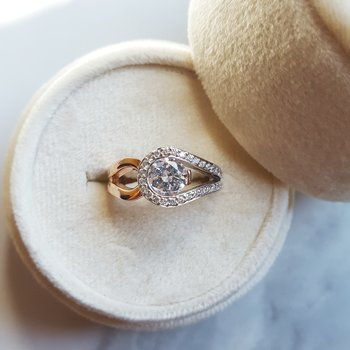 Two Toned Engagement Semi-Mount Ring