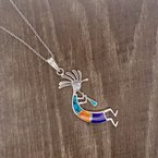 Arizona Turquoise and Inlaid Jewelry Kokopelli Flute Man Pendant
