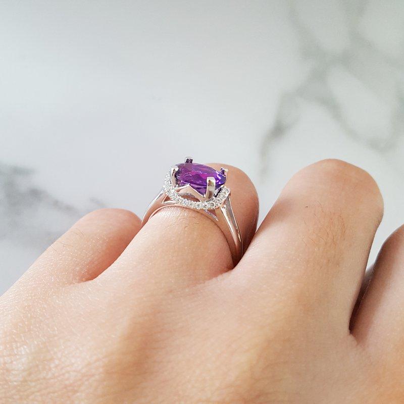 Arizona Amethyst™ Gold Jewelry Oval Hidden Halo Ring