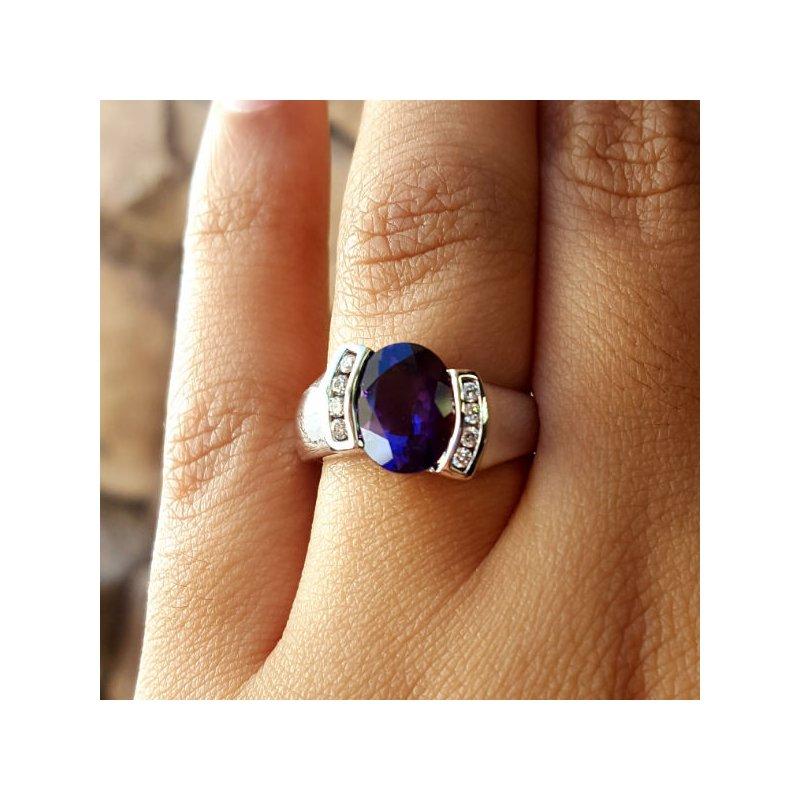 Arizona Amethyst™ Gold Jewelry Half Bezel Ring