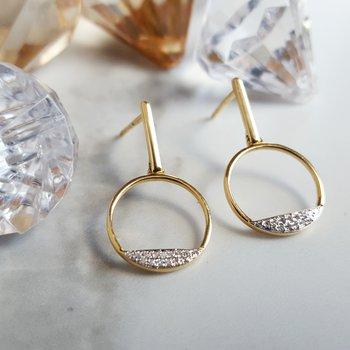 Open Diamond Circle Earrings