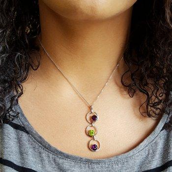 Three Stone Circle Necklace
