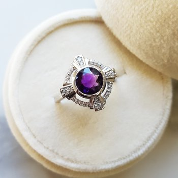 Amethyst Compass Ring