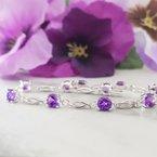 Arizona Amethyst™ Silver Jewelry Open Link Bracelet