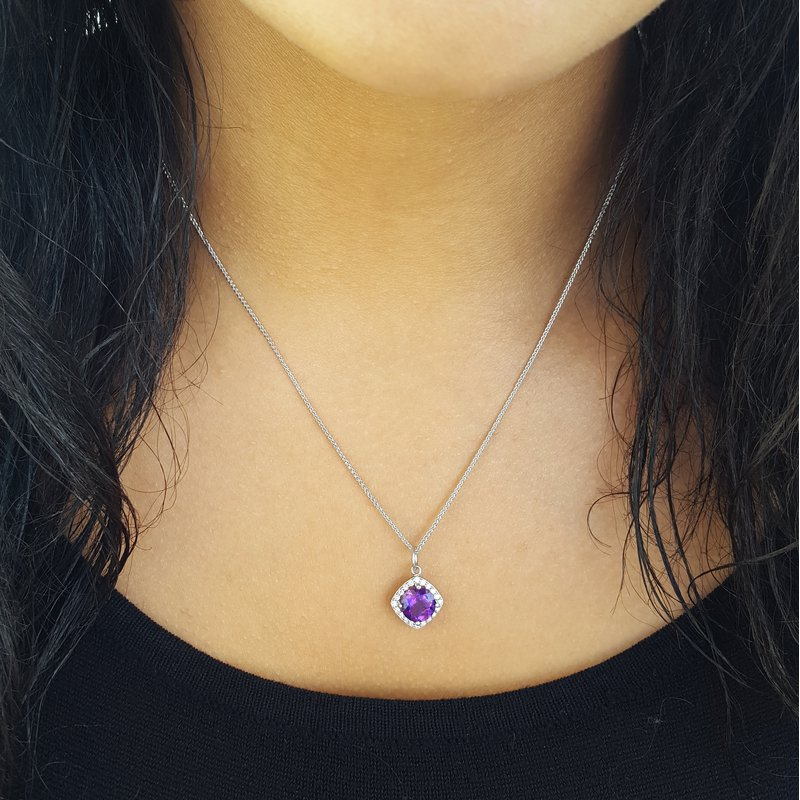 Arizona Amethyst™ Gold Jewelry Square Halo Amethyst Pendant