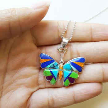 Multicolored Butterfly Pendant