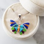 Arizona Turquoise and Inlaid Jewelry Multicolored Butterfly Pendant