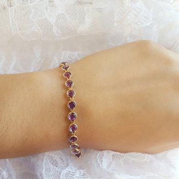 Arizona Amethyst Gold Bezel Bracelet