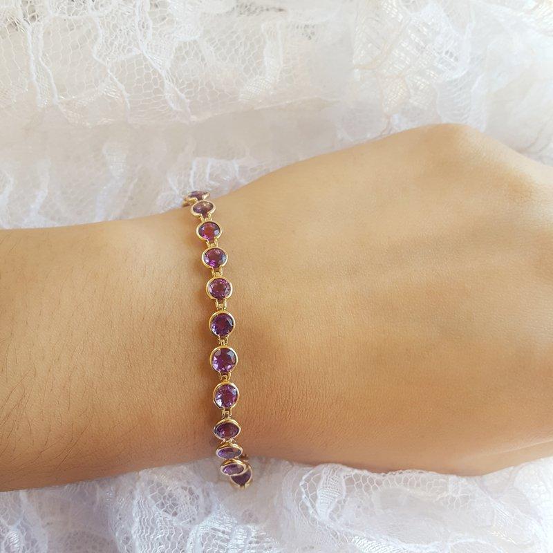 Arizona Amethyst™ Gold Jewelry Arizona Amethyst Gold Bezel Bracelet
