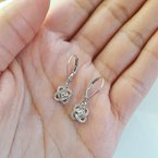 Gems One Diamond Infinity Love Heart Knot Dangle Earrings in 14k White Gold (1/4ctw)