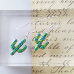 Arizona Turquoise and Inlaid Jewelry Gaspeite Saguaro Cactus Earrings