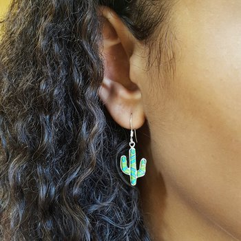 Gaspeite Saguaro Cactus Earrings