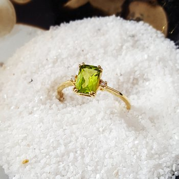 Checkerboard Cut Peridot Ring