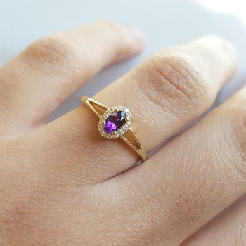 Oval Halo Amethyst Ring