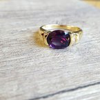 Arizona Amethyst™ Gold Jewelry Partial Bezel Ring