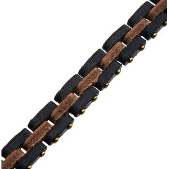 Genuine Leather Link Bracelet with Antiqued Gun Metal Steel Closure