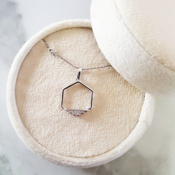Geometric Hexagon Diamond Necklace