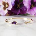 Arizona Amethyst™ Gold Jewelry Bezel Bracelet