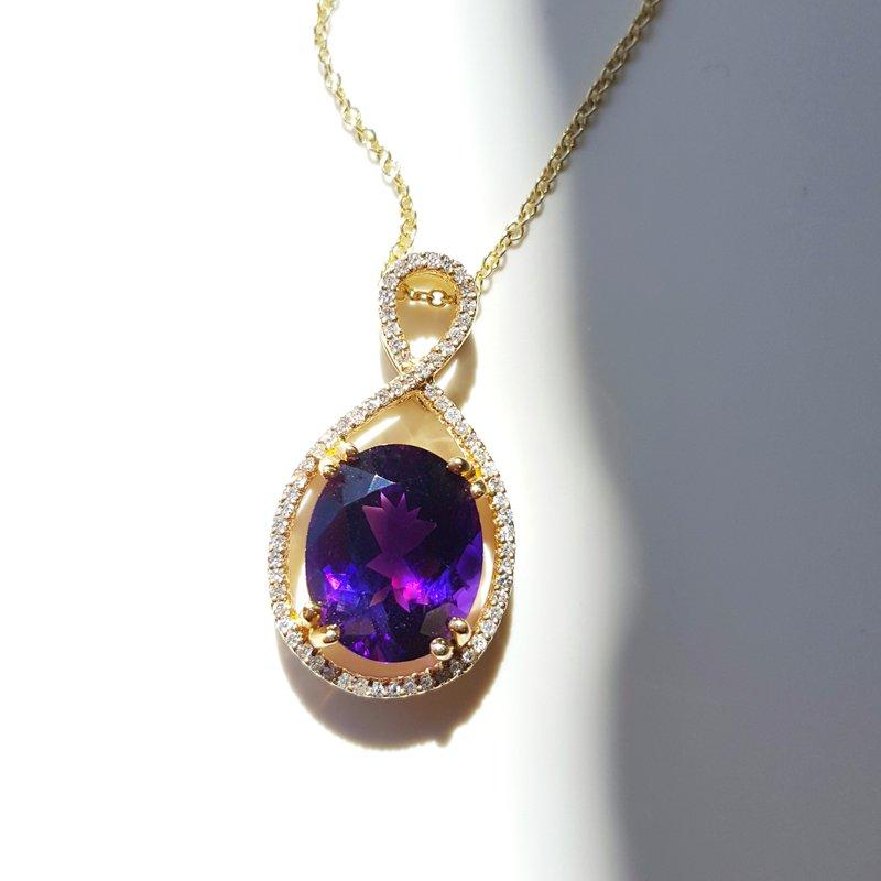 Arizona Amethyst™ Gold Jewelry Amethyst Oval Halo Pendant
