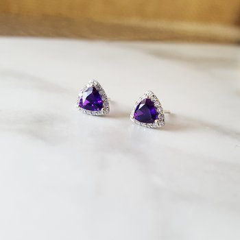 Arizona Amethyst Trillion Halo Studs