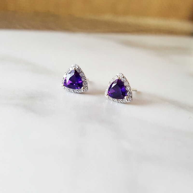 Arizona Amethyst™ Gold Jewelry Arizona Amethyst Trillion Halo Studs