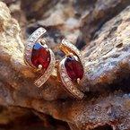 Arizona Anthill Garnet Gold Jewelry Oval Bypass Earrings