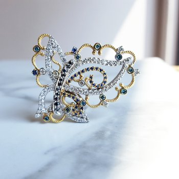 Abstract Butterfly Diamond Ring
