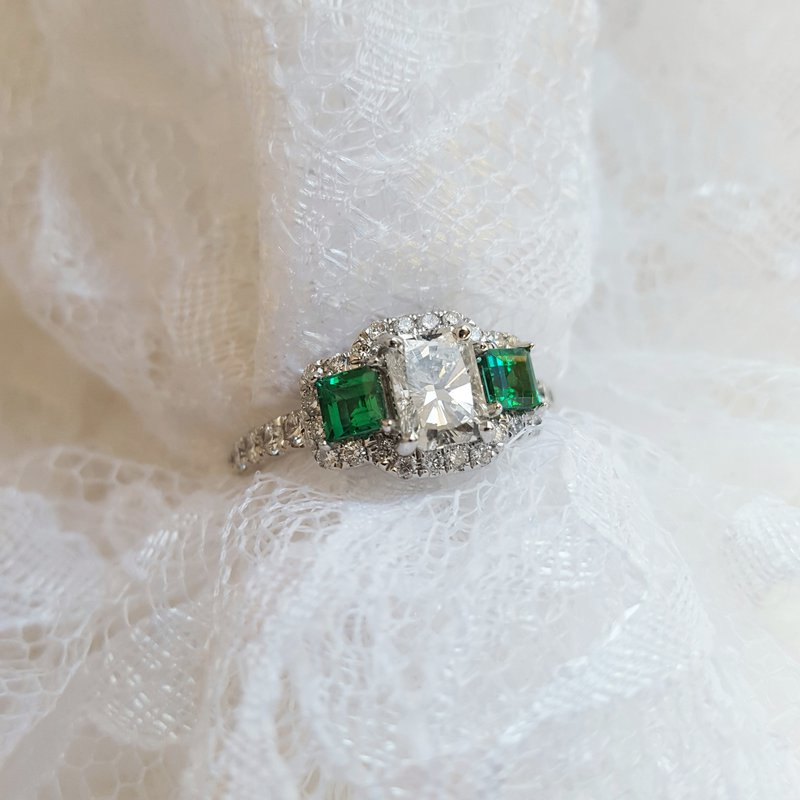Sami Fine Jewelry Three Stone Emerald Engagement Ring