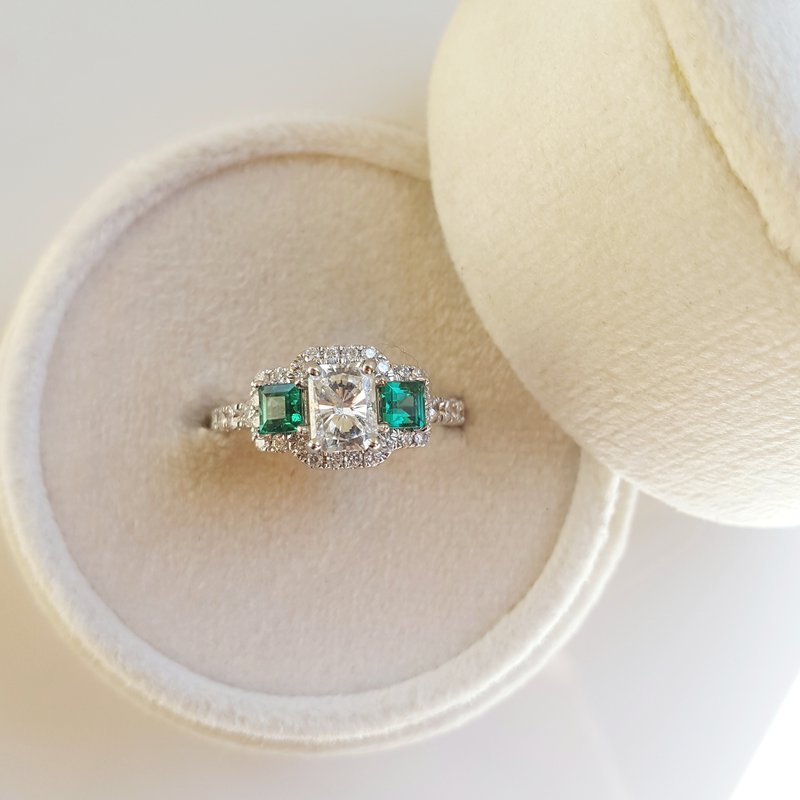 Sami Fine Jewelry Three Stone Emerald Engagement Ring