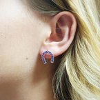 Arizona Amethyst™ Silver Jewelry Horseshoe Studs
