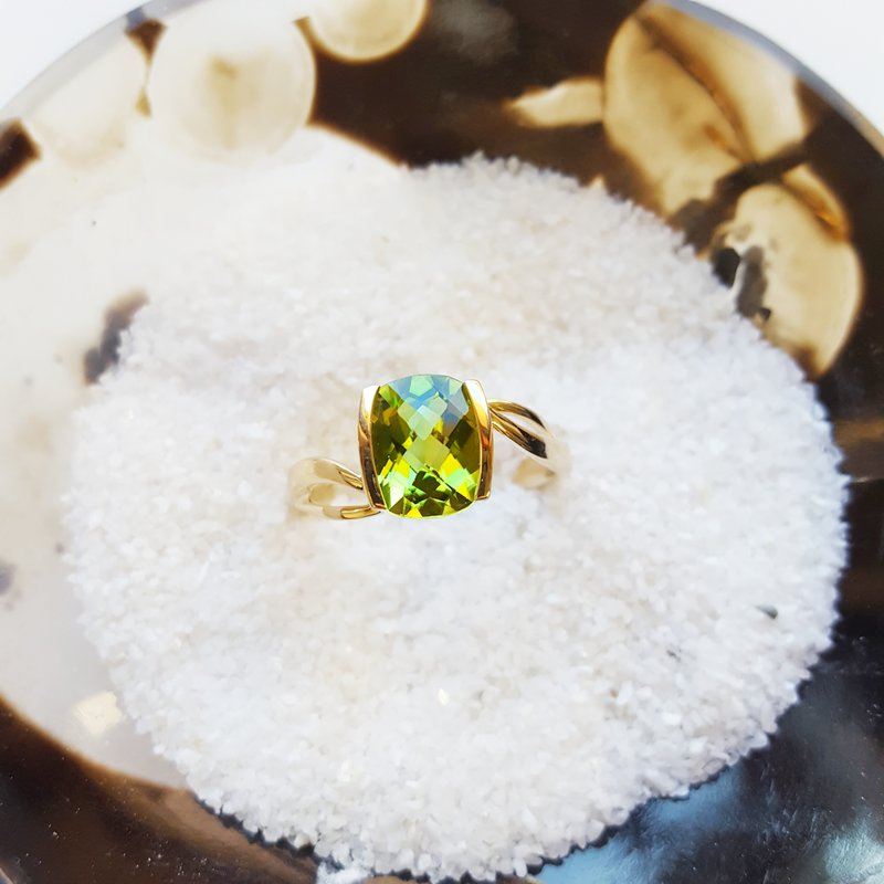 Arizona Peridot Gold Jewelry Antique Cushion Half Bezel Ring