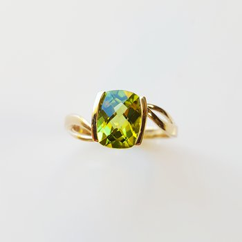 Antique Cushion Half Bezel Ring