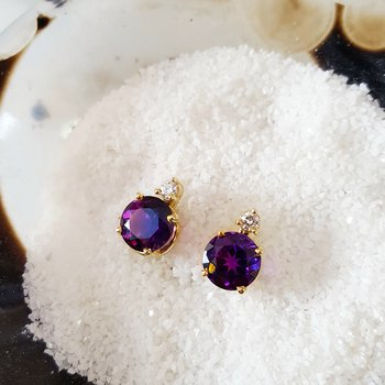 Amethyst Studs with Diamond Accent
