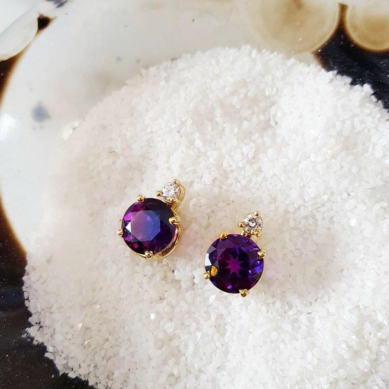Arizona Amethyst™ Gold Jewelry Amethyst Studs with Diamond Accent