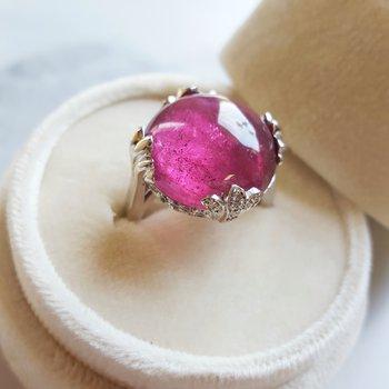 Pink Tourmaline Globe Ring