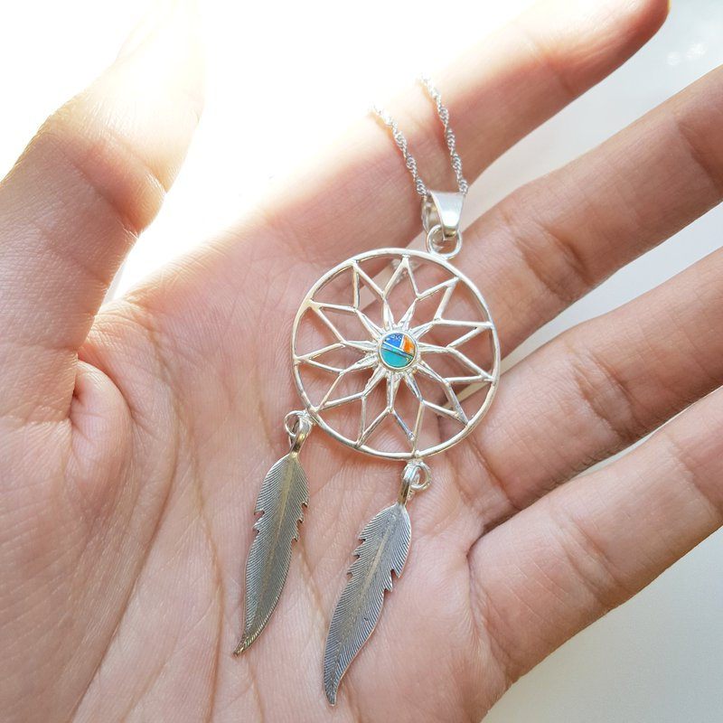 Birthstone Dream Catcher Gold-Filled Necklace wFeather